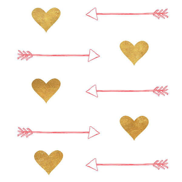 Arrow Digital Art - Gold Hearts And Arrows by Sd Graphics Studio