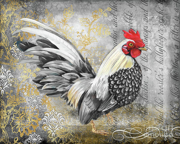 Wall Art - Painting - Gold Lace Rooster A by Jean Plout