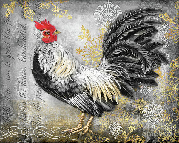Wall Art - Painting - Gold Lace Rooster B by Jean Plout