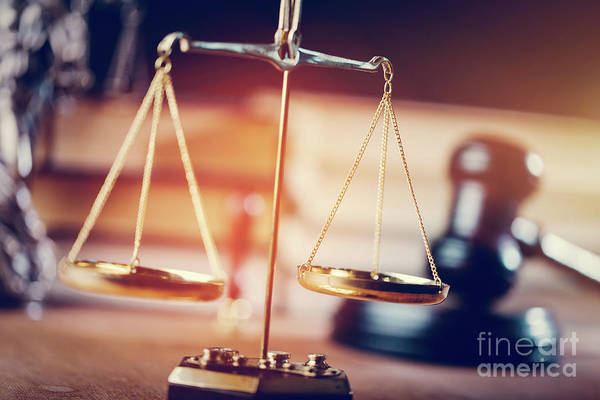 Photograph - Gold Measuring Scales In The Courtroom by Michal Bednarek