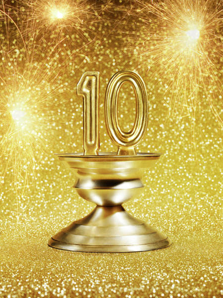 Fireworks Display Wall Art - Photograph - Gold Number 10 Trophy With Fireworks by Lauren Burke