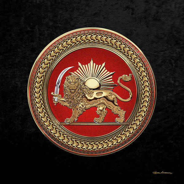 Digital Art - Gold Persian Lion And Sun Over Black Velvet by Serge Averbukh