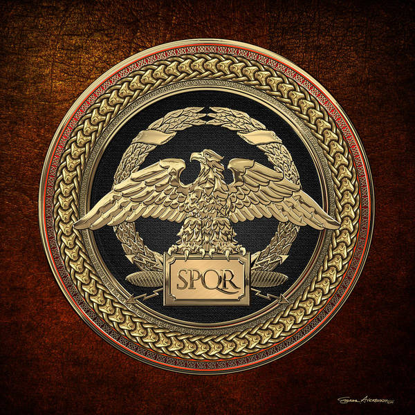 Digital Art - Gold Roman Imperial Eagle Over Black And Gold Medallion On Brown Leather by Serge Averbukh