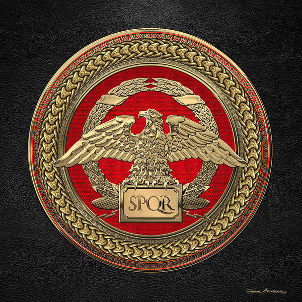 Digital Art - Gold Roman Imperial Eagle Over Red And Gold Medallion On Black Leather by Serge Averbukh