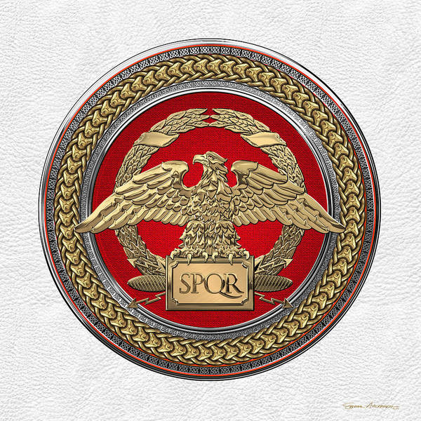 Digital Art - Gold Roman Imperial Eagle Over Red Gold And Silver Medallion On White Leather by Serge Averbukh