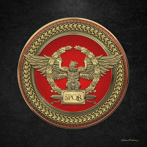 Digital Art - Gold Roman Imperial Eagle -  S P Q R  Medallion Edition Over Black Leather by Serge Averbukh