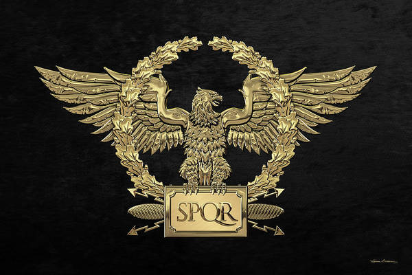 Wall Art - Digital Art - Gold Roman Imperial Eagle -  S P Q R  Special Edition Over Black Velvet by Serge Averbukh