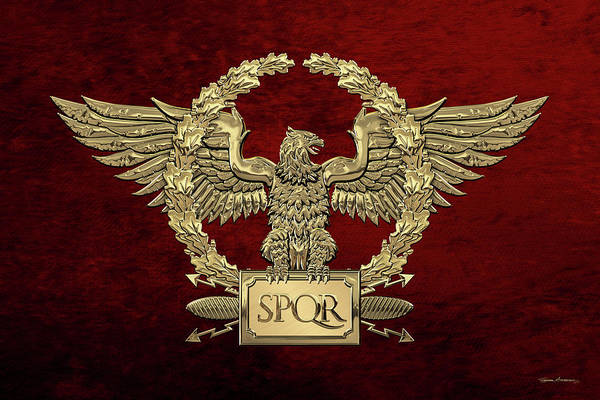 Digital Art - Gold Roman Imperial Eagle -  S P Q R  Special Edition Over Red Velvet by Serge Averbukh