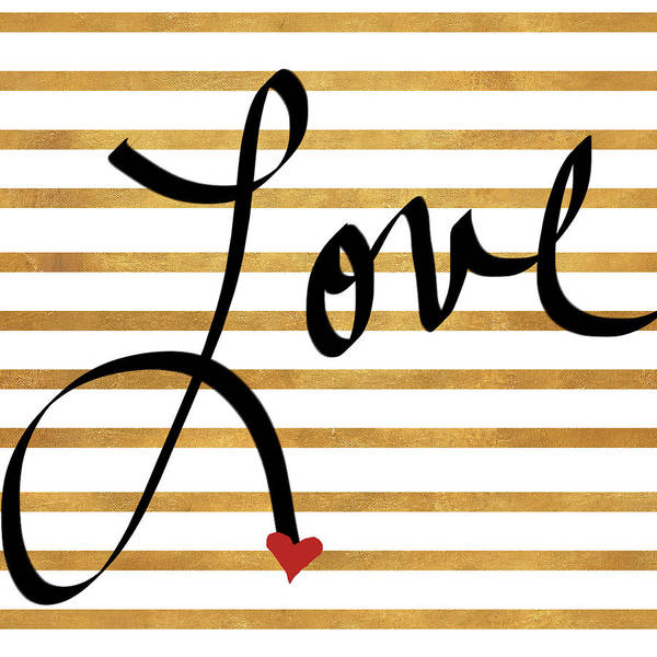 Wall Art - Mixed Media - Gold Stripes Love by Sd Graphics Studio