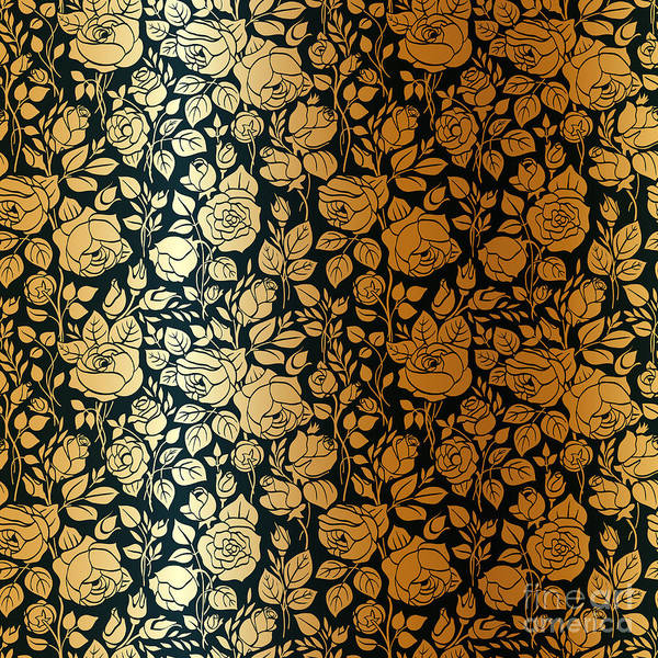 Victorian Garden Wall Art - Digital Art - Gold Vintage Seamless Pattern With by Olga Korneeva