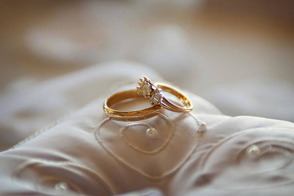 Florida Photograph - Gold Wedding Rings On A Pillow by Driendl Group