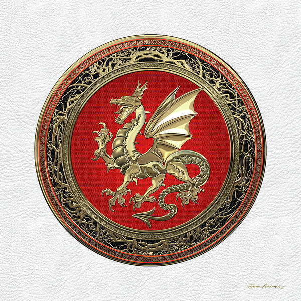 Digital Art - Gold Winged Norse Dragon - Icelandic Viking Landvaettir On Red And Gold Medallion Over White Leather by Serge Averbukh