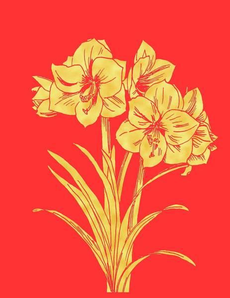 Amaryllis Painting - Golden Amaryllis by Masha Batkova