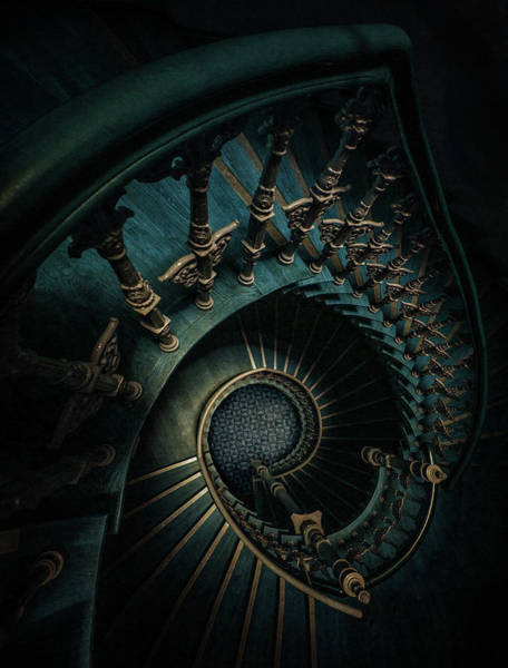 Photograph - Golden And Blue Staircase by Jaroslaw Blaminsky