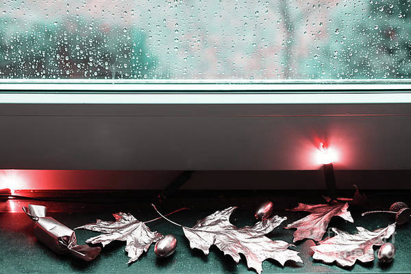Photograph - Golden Autumn On The Background Of Rainy Window by Marina Usmanskaya
