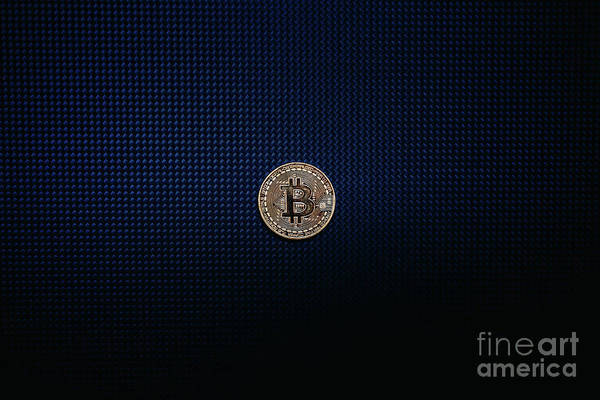 Photograph - Golden Bitcoin Coin Isolated On Blue Dark Background by Joaquin Corbalan