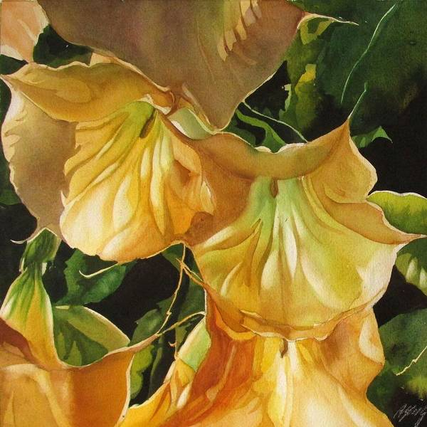 Painting - Golden Brugmansia by Alfred Ng