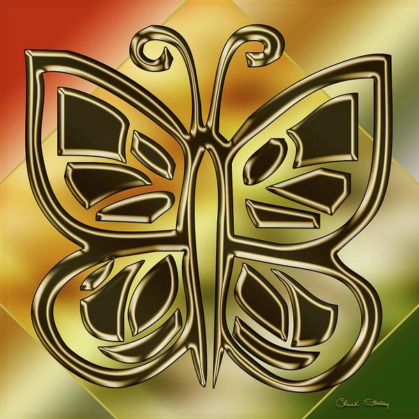 Digital Art - Golden Butterfly by Chuck Staley