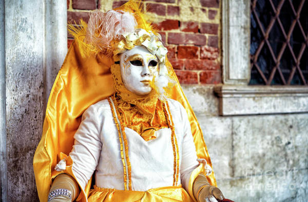 Photograph - Golden Carnival Model In Venice by John Rizzuto