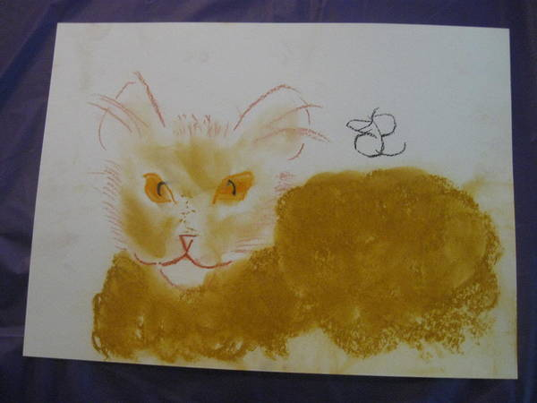 Drawing - Golden Cat by AJ Brown