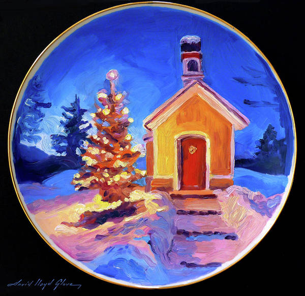 Painting - Golden Christmas Tree by David Lloyd Glover