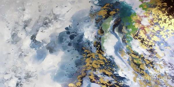 Wall Art - Painting - Golden Coast - Panoramic Abstract by Vesna Antic