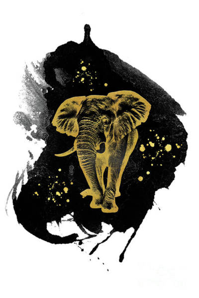 Mixed Media - Golden Elephant by Angela Doelling AD DESIGN Photo and PhotoArt