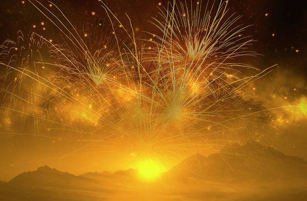 Photograph - Golden Fireworks Above The Mountains At Sunset by Johanna Hurmerinta