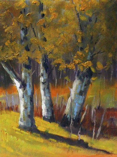 Wall Art - Painting - Golden Forest Landscape Painting by Nancy Merkle