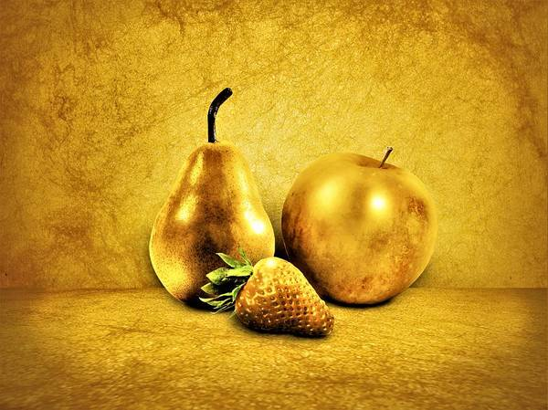 Wall Art - Painting - Golden Fruits by ArtMarketJapan