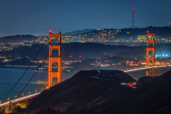 Photograph - Golden Gate Bridge And The Sutro Tower by Kristen Wilkinson