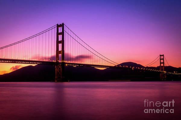 Wall Art - Photograph - Golden Gate Bridge At Sunset, San by Barry Clague
