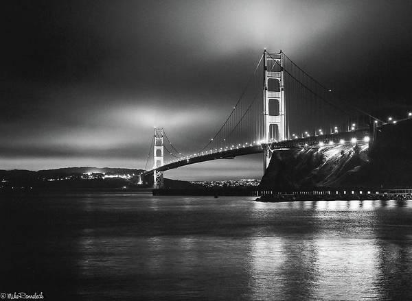 Photograph - Golden Gate Bridge B/w by Mike Ronnebeck