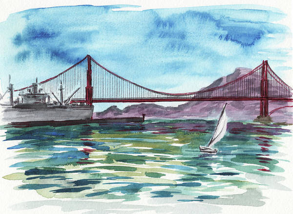 Painting - Golden Gate Bridge From Pier Thirty Nine Watercolor by Irina Sztukowski