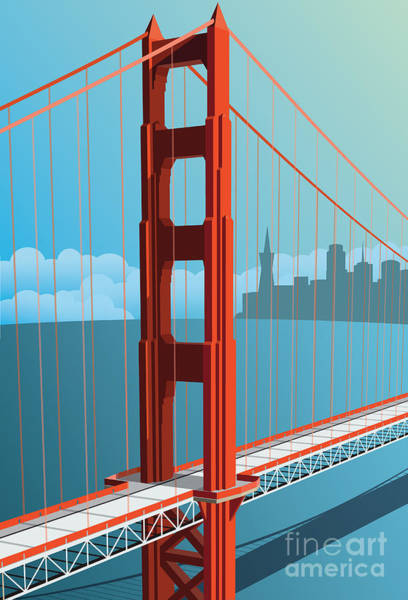 Wall Art - Digital Art - Golden Gate Bridge by Nikola Knezevic