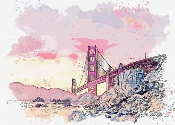 Painting - Golden Gate Bridge, San Francisco, United States -  Watercolor By Adam Asar by Adam Asar