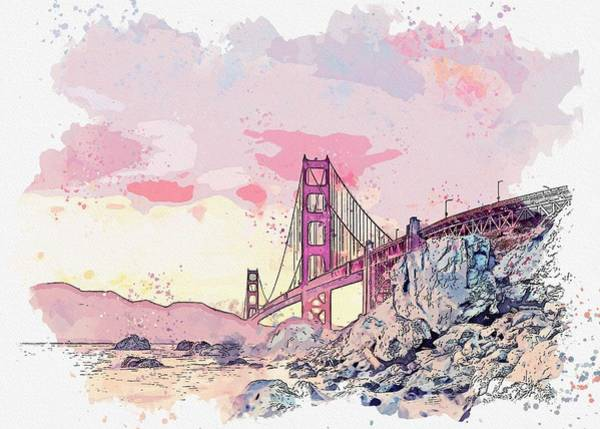Wall Art - Painting - Golden Gate Bridge, San Francisco, United States -  Watercolor By Adam Asar by Celestial Images