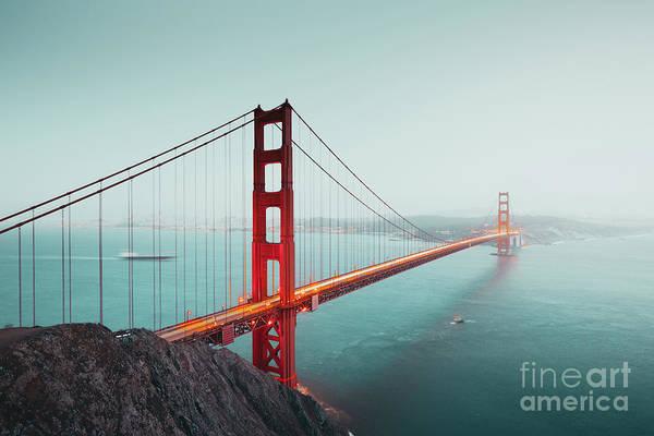 Wall Art - Photograph - Golden Gate Bridge Twilight Fog by JR Photography