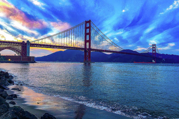 Wall Art - Digital Art - Golden Gate Impression #2 by Dimitris Sivyllis