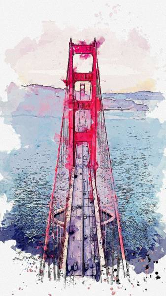 Wall Art - Painting - Golden Gate Watercolor By Ahmet Asar by Celestial Images