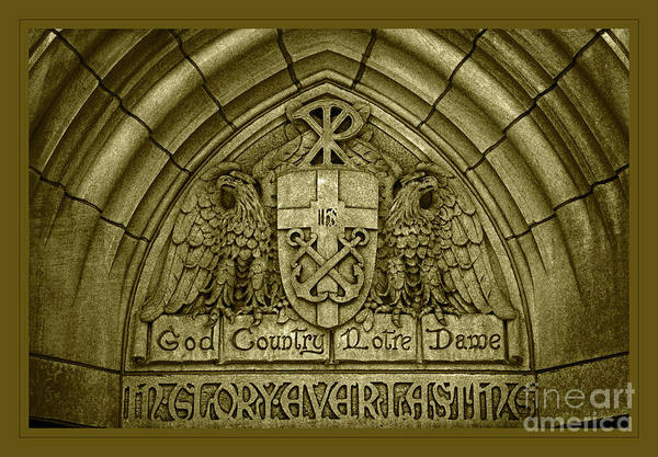 Wall Art - Photograph - Golden God Country Notre Dame Detail On Basilica Memorial Door Header by John Stephens