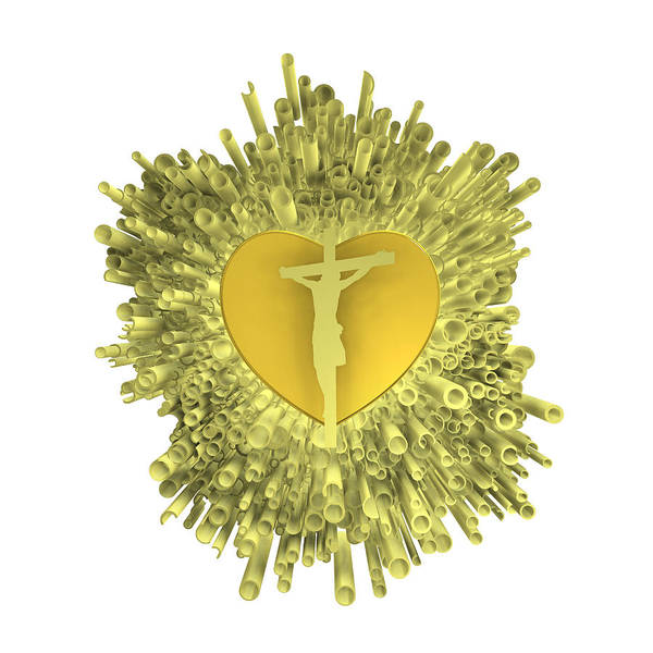 Digital Art - Golden Heart Of Jesus by Alberto RuiZ