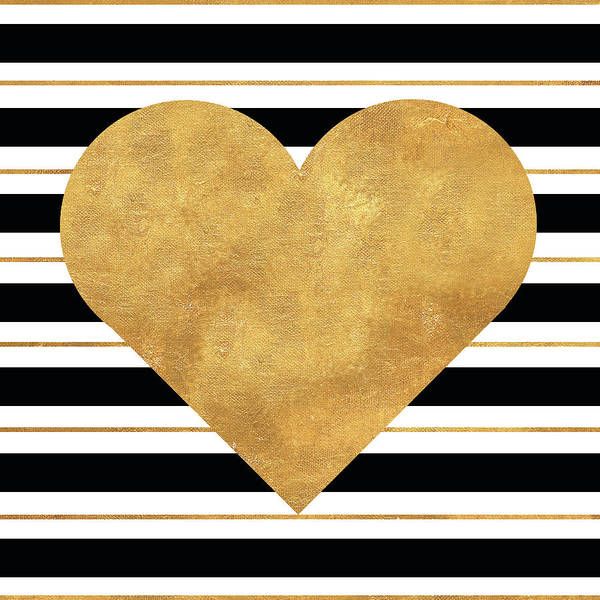 Wall Art - Painting - Golden Heart by Sd Graphics Studio