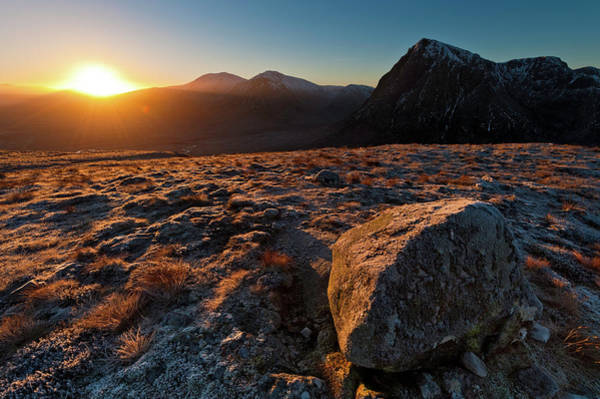 Moor Photograph - Golden Highland Dawn Glencoe Mountain by Fotovoyager