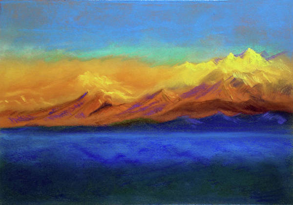 Wall Art - Painting - Golden Himalayas by Asha Sudhaker Shenoy