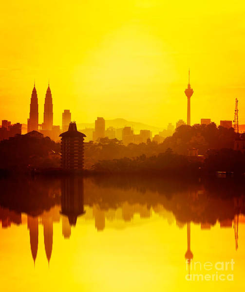 Dark Shadows Photograph - Golden Hour At Kuala Lumpur by Nelzajamal