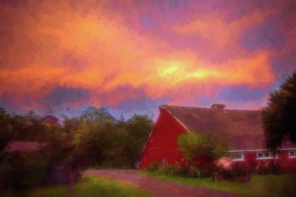 Wall Art - Digital Art - Golden Hour At The Barn by Debbie Lund
