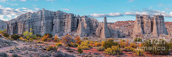 Land Of Enchantment Photograph - Golden Hour Fall Panorama Of Plaza Blanca - Abiquiu Rio Arriba County New Mexico by Silvio Ligutti