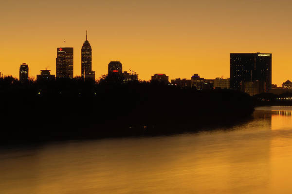 Photograph - Golden Hour Over The White River - Indianapolis Skyline by Gregory Ballos