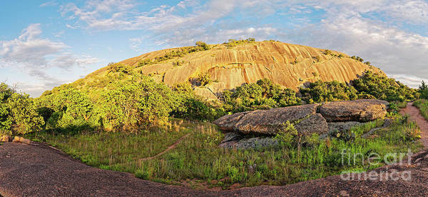 Photograph - Golden Hour Panorama Of North Side Of Enchanted Rock From The Loop Trail - Fredericksburg Texas  by Silvio Ligutti